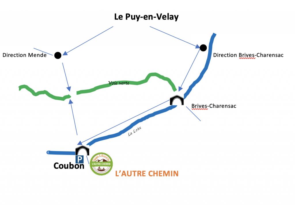 Plan d'accès à L'Autre Chemin - Location de vélos électrqiues